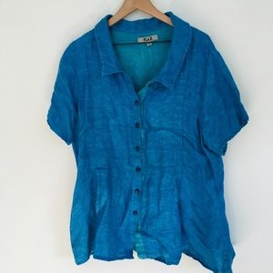 FLAX Oversize Button Front Linen Tunic Top